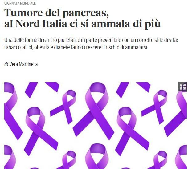 articolo del corriere sul tumore al pancreas